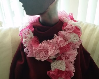 Knitted Lace Scarf (shades of pink)