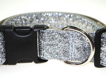 "Silver Glitter 1.5"" Width Adjustable Collar"