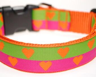 "Hearts - Orange, Pink, and Green 1"" Adjustable Dog Collar"