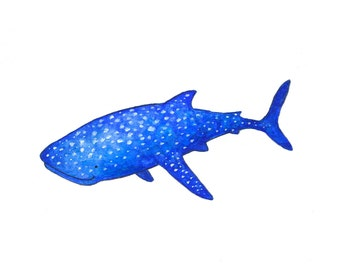 Whale Shark Watercolor Painting - 5 x 7 - Kids Wall Art