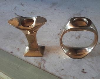 PAIR MODERNIST BRASS Candle Holders Ring Shape Tulip Shape Fine Home Decor Candleholder