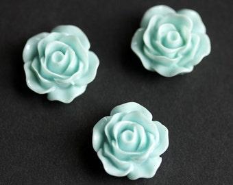 Baby Blue Rose Flower Refrigerator Magnets. Set of Three. Baby Blue Flower Magnets. Handmade Home Decor.