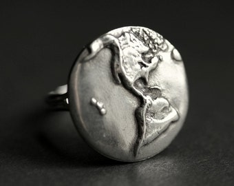 Earth Ring. World Ring. Pewter Button Ring. Planet Earth Ring. Adjustable Ring. Silver RIng. Handmade Ring. Pewter Ring. Handmade Jewelry.