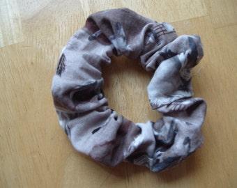 Attractive, practical 'horsey' scrunchie in muted tones