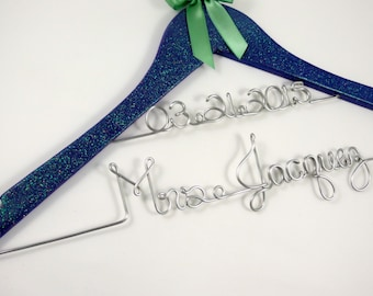 Personalized Wedding Dress Hanger, Glitter Hanger for Bride and Bridal Party, Shower Gift, Bling and Sparkle Hanger,