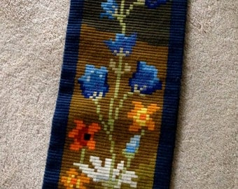 LARGE embroidered Mid Century Wall art of wild flowers bright colors blue