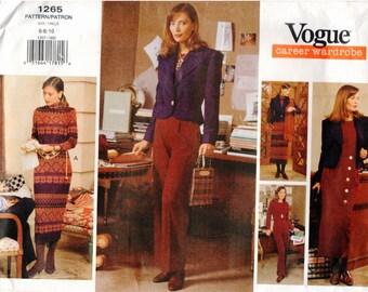 Vogue UNCUT Career Wardrobe Pattern 1265 - Misses Easy Jacket, Dress, Top, Skirt & Pants 6-10