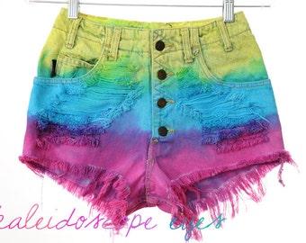 Vintage High Waist RAINBOW OMBRE Dip Dyed Denim Cut Off Shorts XS