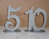 """6"""" Glittered Table Numbers Script set 1-15 with 1/4""""  on Oval Base MDF / WOOD Glitter"""
