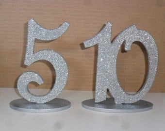"6"" Glittered Table Numbers Script set 1-40 with 1/4""  on Oval Base MDF / WOOD Glitter Silver - Gold - Black - White"
