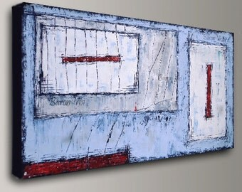 blue grey abstract Painting acrylic painting art painting blue white grey large canvas wall home office interior decor modern custom Visi