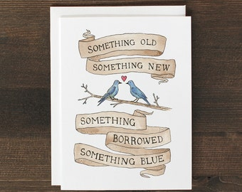 Wedding engagement Card Something Old New Borrowed Blue
