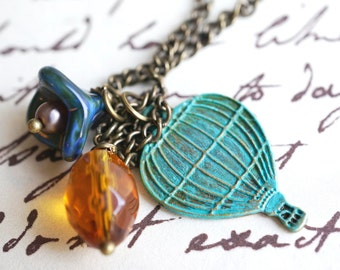 Hot Air Balloon Charm Necklace - Czech Pearl and Tulip Flower, Balloon and Amber Glass Bead Necklace