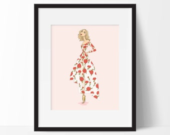 The Red Rose fashion illustration print