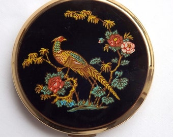 Stratton powder compact with Asian pheasant decoration