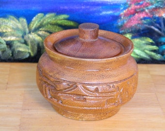 Small Vintage Hand Carved Wooden Bowl Trinket Box Hawaii