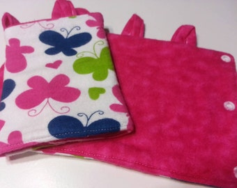 Pink and Purple Butterfly Flannel Tula Suck Pads