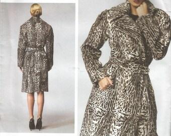 Uncut DKNY Donna Karan Collection Vogue V1365  Coat and Belt Sizes 6 8 10 12 14, Bust 30.5    31.5    32.5   34    36