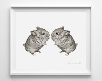 chinchilla painting watercolor twins sweet home decor nursery art twins baby