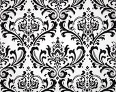 One 17 x 52 Custom Lined  Valance -  Black/White Damask
