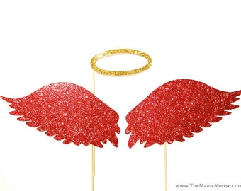 Photo Booth Props -  Angel Wings and Halo - Set of 3 Extra Large props - You Choose Color - Birthdays, Weddings, Parties - Photobooth Props