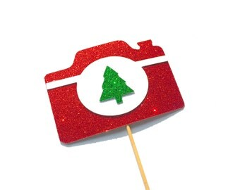 Christmas Props - Christmas Camera - Ugly Sweater Party - Glitter Photo Booth Props