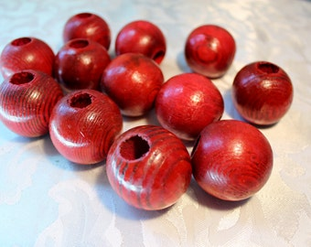 Christmas Red Wood Beads Large Red Wood Grain Round