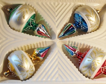 Vintage Christmas tree Ornaments Silver indents hand painted