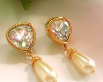 Swarovski Crystal & Faux Pearl Drop Earrings Bridal Wedding Fashion Jewelry