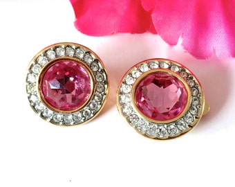 Pretty in Pink Rhinestone Earrings Vintage Retro Feminine Fashion Jewelry