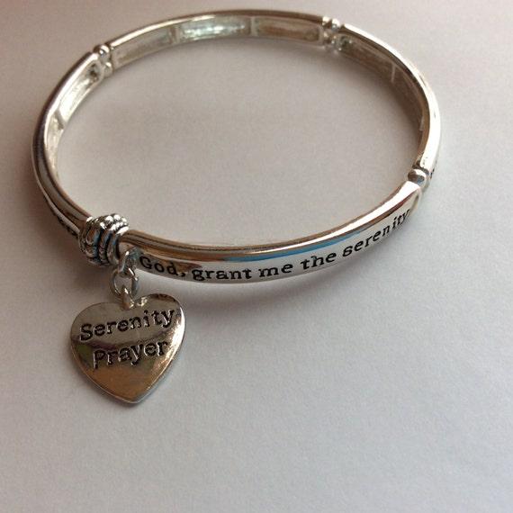 serenity prayer stretch bangle bracelet by judeswhimsy on etsy