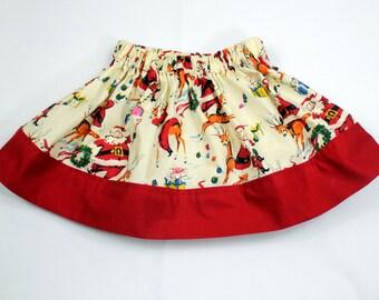 Vintage Santa Christmas Skirt, Girls Christmas Skirt