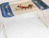 Horse Riding  metal Folding Tray Table Cottage Chic