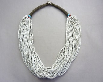 Vintage Afghan Tribal Dirty White Seed Bead Necklace