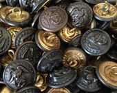 """SET of 10 - Vintage World War USA Marine Corps Metal Buttons - Peacoat -Eagle - Anchor - Small Size - 11/16"""""""