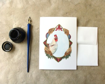 Quilted Forest: Charles the Chicken // Art Greeting Card