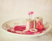 Pink Valentine- Thread and Buttons Photograph, Still Life Photo, Pink Heart Pins, Pink Red White, Sewing Room Decor, 8x10 Fine Art Print
