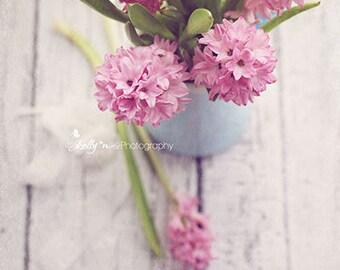 Hyacinth 1- Pink Hyacinth Flowers Photograph, Floral Still Life, Flower Photography, Floral Wall Art, Feminine Decor, 8x12 Fine Art Print