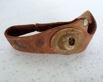 Vintage Leather Sewing Palm Hand Guard with Thimble Cup for Stitching Canvas Leather and Sails
