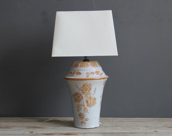 Hand Painted Pottery Floral Lamp
