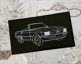 Mercedes 450 SL Illustration Classic Car Wooden Hanging Sign Plaque Hand Painted Gift