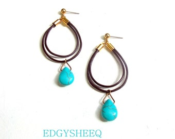 Leather Earrings, Turquoise Gemstone Earrings, Gift for her, Boho Jewelry, Brown and Blue Earrings, Genuine Leather Earrings