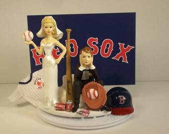 Boston (or YOUR team) Red Sox Baseball Funny Wedding Cake Topper Bride and Groom Got the Ball