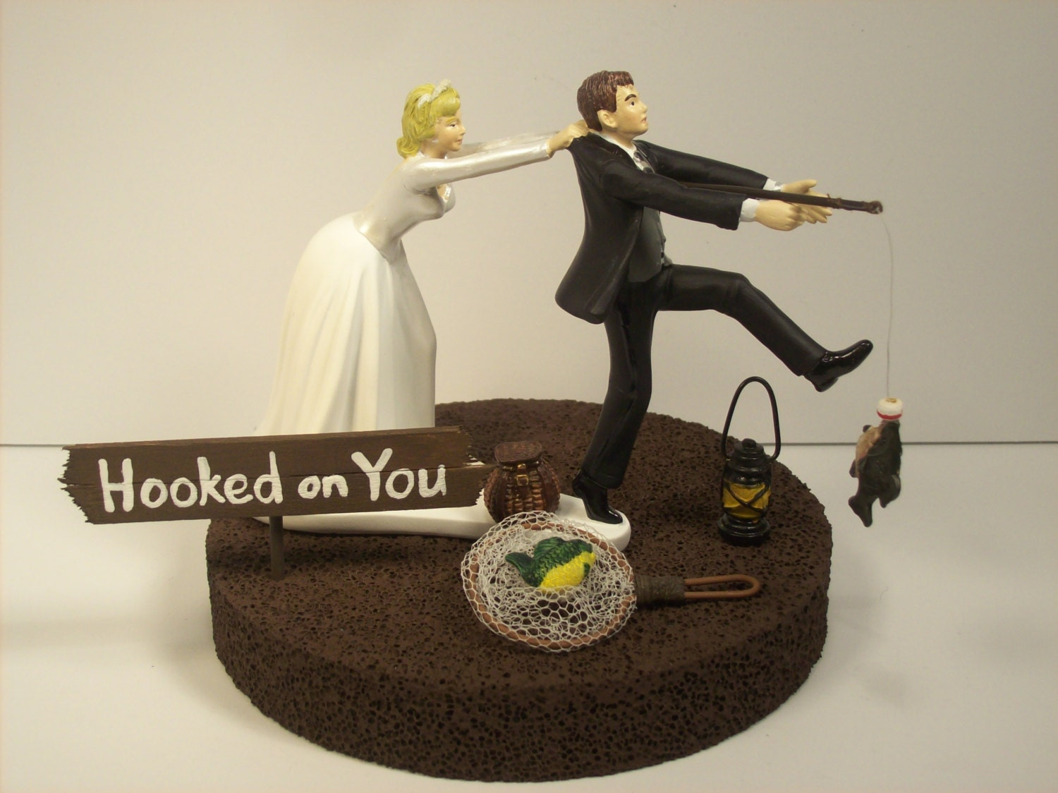 hooked on love wedding cake topper best catch hooked on you fishing with personalized sign 15312