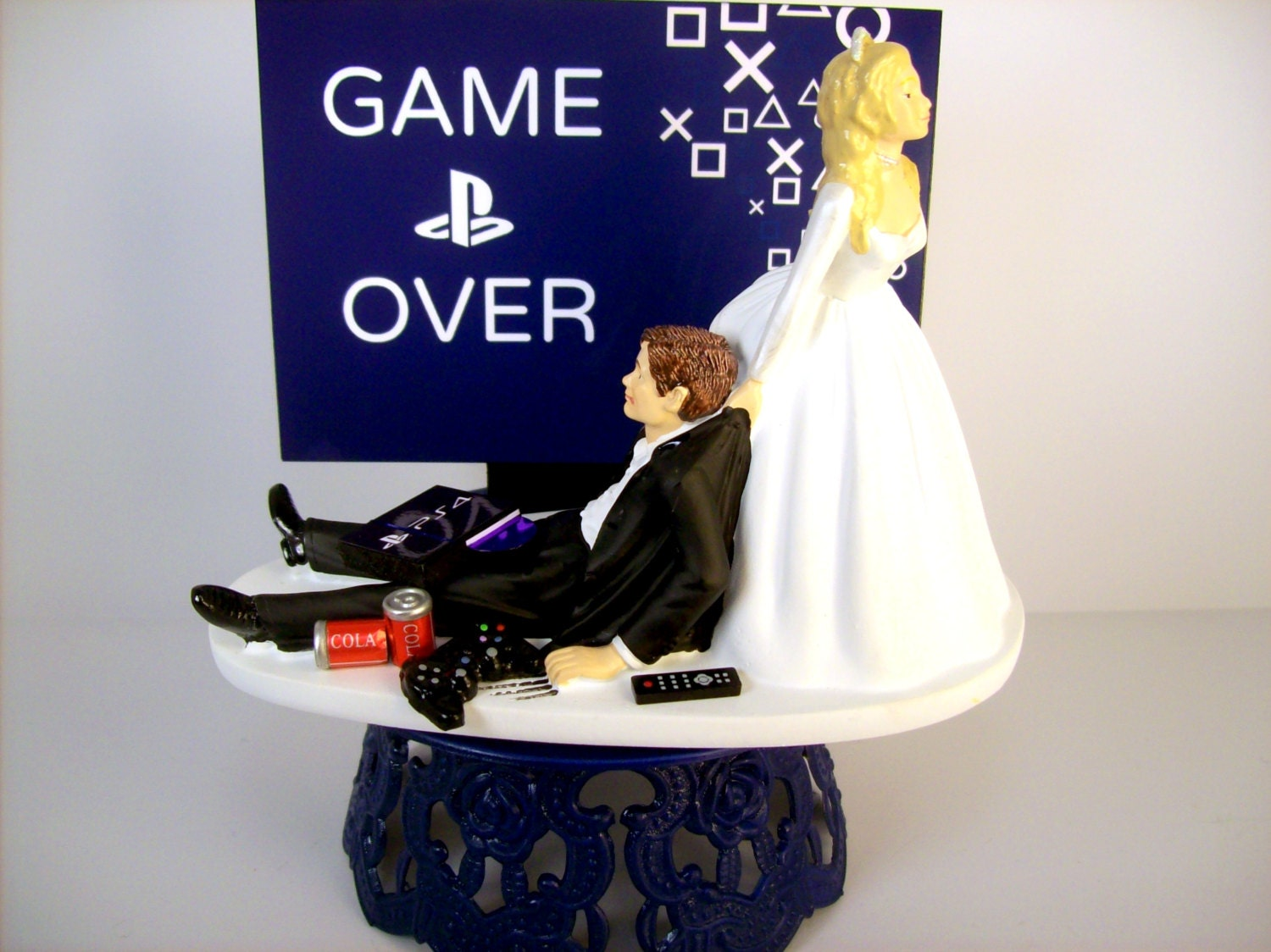 Funny Wedding Cake Topper Custom GAME OVER Video by mikeg1968