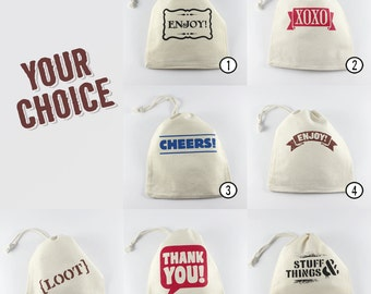 Small Cotton Gift Bags, Mix & Match, Reusable Mini Drawstring Bags, Your Choice, Screenprinted by Hand, larger quantities available