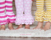 Jersey Knit triple ruffle leggings.   Many colors available.  Capri or full length.  Available girls 12 months to 10 years.