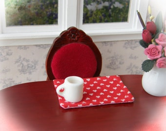 Dollhouse Miniature Reversible Placemats Set of 4, In 1:12 Scale - Pink Floral Reverses to Valentine Hearts