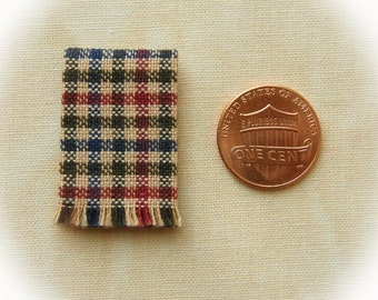 Miniature woven kitchen towel - Fall Colors, Country Colors plaid 1:12 scale