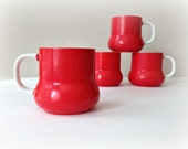 Red Holt Howard Mugs 1960s Retro Mid Century Coffee Cups